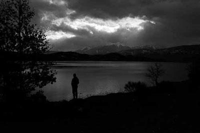 τοπίο, ασρπόμαυρη φωτογραφία, σιλουέτα, λιμνη