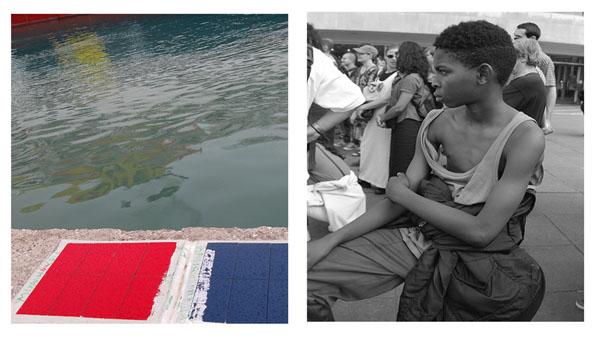 δίπτυχο φωτογραφιών / λιμάνι, κόκκινο, μπλε, νερό / παιδί