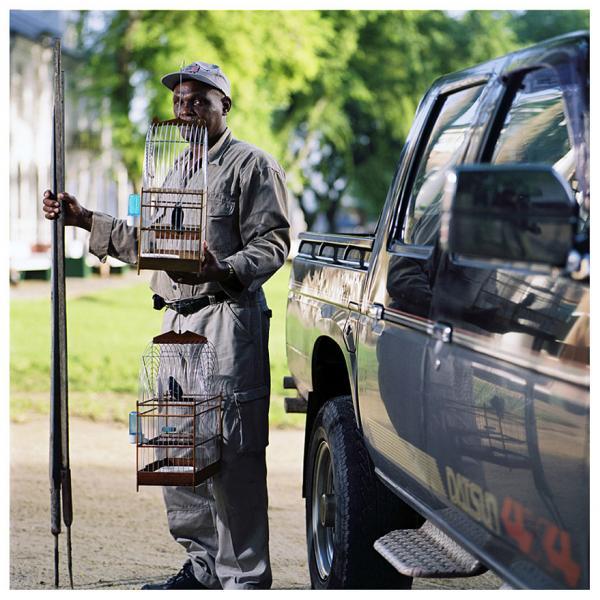 μελαμψός άνδρας κρατάει ένα κλουβι με πουλί