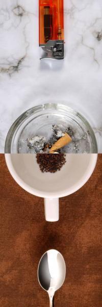 αναπτήρας, τασάκι / κούπα καφέ, κουταλάκι