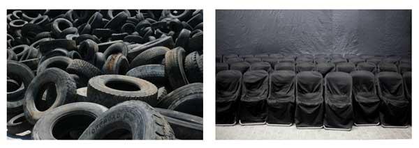 διπτυχο, λάστιχα αυτοκινήτων, καρέκλες σκεπασμένες με μαύρα σεντόνια
