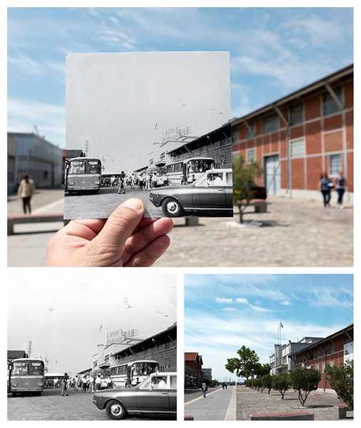 κάποιος κρατάει μια ασπρόμαυρη φωτογραφία από το λιμάνι Θεσσαλονίκης και στέκεται στο ίδιο σημείο σήμερα