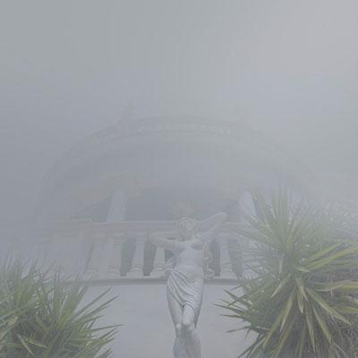 άγαλμα, ομίχλη, κτήριο