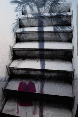 σκάλες, γυναικα, φοίνικας, διπλοέκθεση