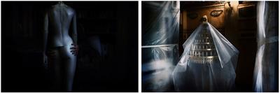 δίπτυχο φωτογραφιών, κούκλα βιτρίνας, μανουάλι τυλιγμένο με νάυλον