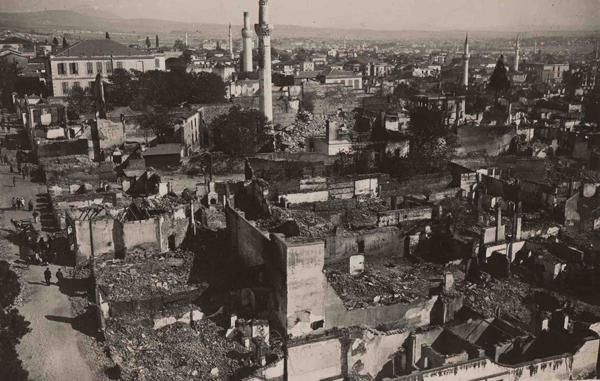 φωτογραφία της Θεσσαλονίκης μετά την πυρκαγιά, πανόραμα της Άνω Πόλης του 1917