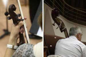 άνδρας παίζει βιολοντσέλο, δίπτυχο