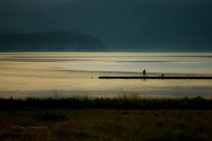 λίμνη, τοπίο, ψαράς, δειλινό