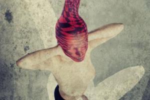 μισόγυμνη γυναίκα με κόκκινη κάλτσα στο κεφάλι