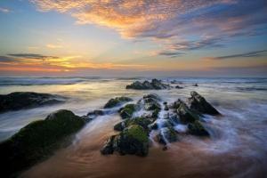 τοπίο, θάλασσα, βράχια, δειλινό