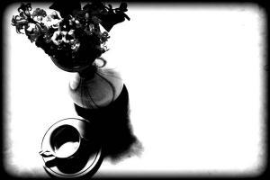 μαυρόασπρη φωτογραφία, contrast, βάζο, φλυτζάνι καφε