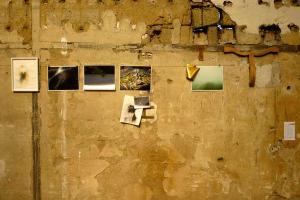 έγχρωμες φωτογραφίες κρεμασμένες σε παλιό φθαρμένο τοίχο