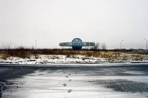 τοπίο, χιόνι, ίχνη, κτίριο σε σχήμα πλανήτη