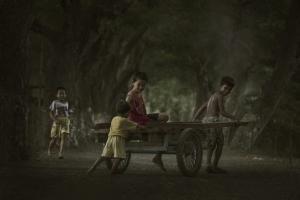 παιδιά παίζουν με ένα κάρο μέσα στο δάσος