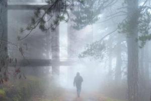 άνδρας που περπατά σ' ένα μονοπάτι στο δάσος, κοπέλα που κοιτάει απο το παράθυρο