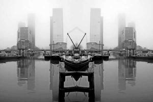 ασπρόμαυρη φωτογραφία, ομίχλη, λιμάνι, κτήρια