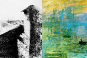 η πρώτη φωτογραφία, ηλιογραφία - μορφή φωτογκραβούρας και ζωγραφική του Claude Monet