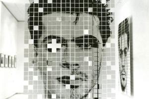 μεγενθυμένα pixels αντρικού προσώπου εκτεθειμένα σε έκθεση