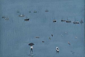 πίνακας ζωγραφικής πολλές διάσπαρτες μικρές βάρκες στη θάλασσα και ένας άντρας με ομπρέλα περπατά στο νερό