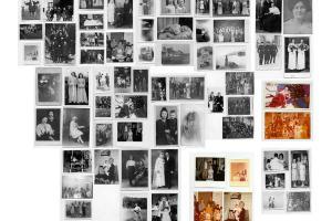 παλιές αναμνηστικές οικογενειακές φωτογραφίες σε κολλάζ
