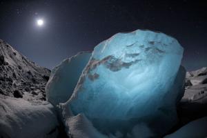chasing ice, τεράστιο κομμάτι πάγου τη νύχτα, σκηνή από timelapse