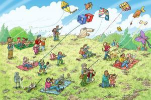 παιδική ζωγραφιά, άνθρωποι πετάνε χαρταετούς